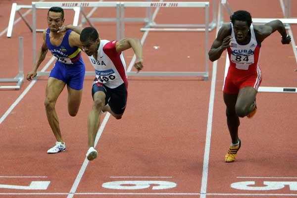 Terrence Trammell of USA on his way to victory in the 60m Hurdles final (Getty Images)