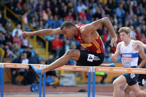 William Sharman clocks a windy 13.18 to win the British 110m hurdles title (Getty Images)