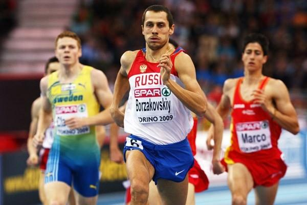Yuriy Borzakovskiy strides to 800m gold ahead of Luis Alberto Marco and Mattias Claesson (Getty Images)