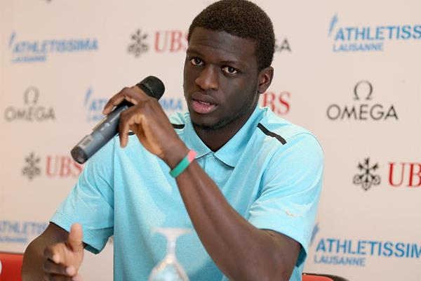 Kirani James at the press conference ahead of the 2014 IAAF Diamond League meeting in Lausanne (Giancarlo Colombo)