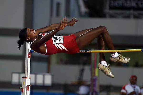 Dominican Republic's Juan Rosario Arrendel jumping to third title (Jose Meiño)