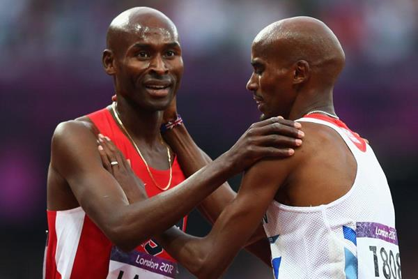 Bernard Lagat and Mo Farah after the 5000m final at the London 2012 Olympic Games (Getty Images)