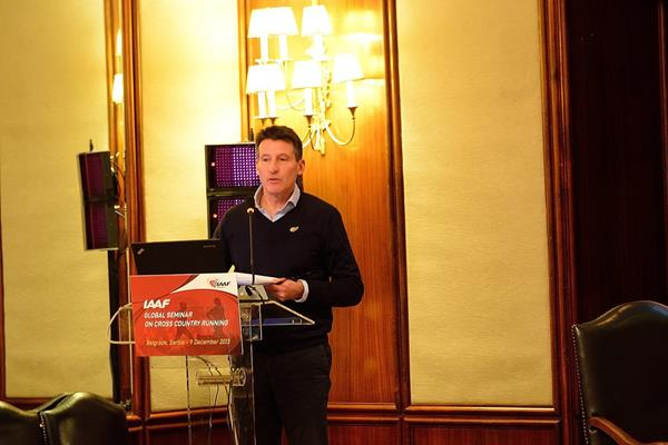 The IAAF Global Seminar on Cross Country Running , Belgrade 2013, IAAF Vice President Sebastian Coe (seminar chairman and moderator) (Sean Wallace-Jones / IAAF)