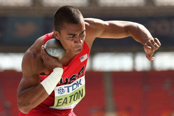 Ashton Eaton in men's Decathlon Shot Put at the IAAF World Athletics Championships Moscow 2013 (Getty Images)