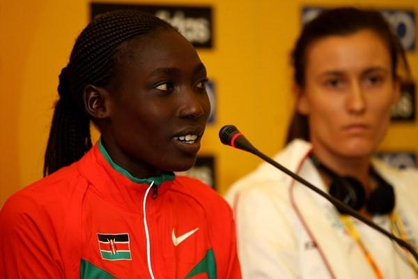 Linet Masai of Kenya at the IAAF World Cross Country press conference (Getty Images)