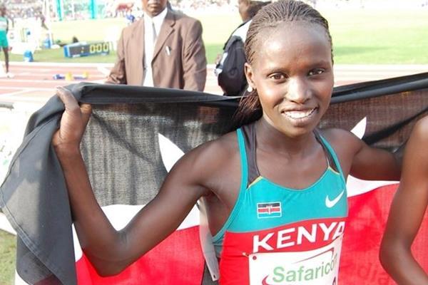 Vivian Cheruiyot after winning the African 5000m title in Nairobi (Elshadai Negash)