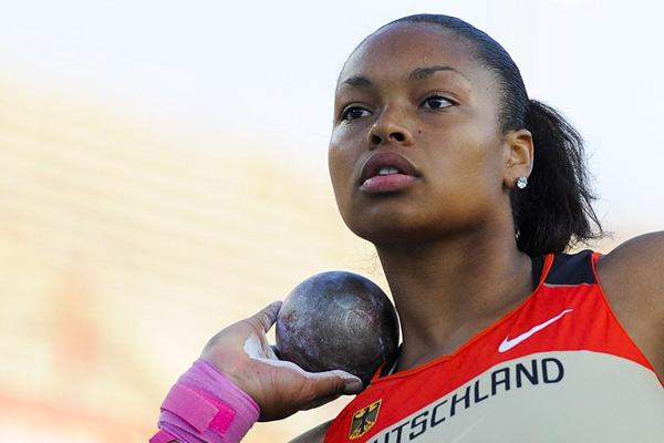 Germany's Shanice Craft en route to winning the women's shot put final at the 2012 IAAF World Junior Championships in Barcelona (Getty Images)