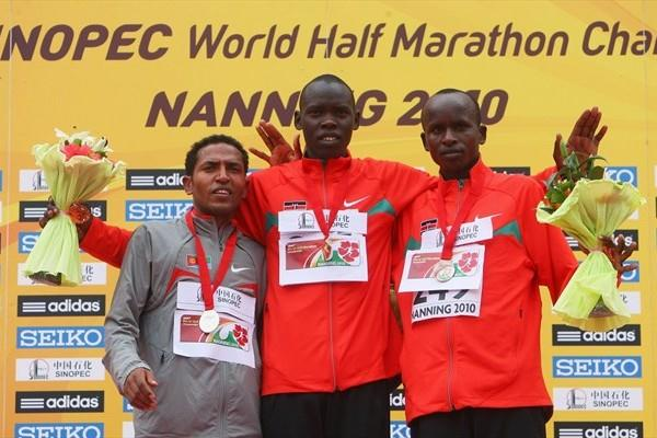 The men's podium in Nanning - silver medallist Zersenay Tadese (ERI), winner Wilson Kiprop (KEN) and bronze medallist Sammy Kitwara (KEN) (Getty Images)