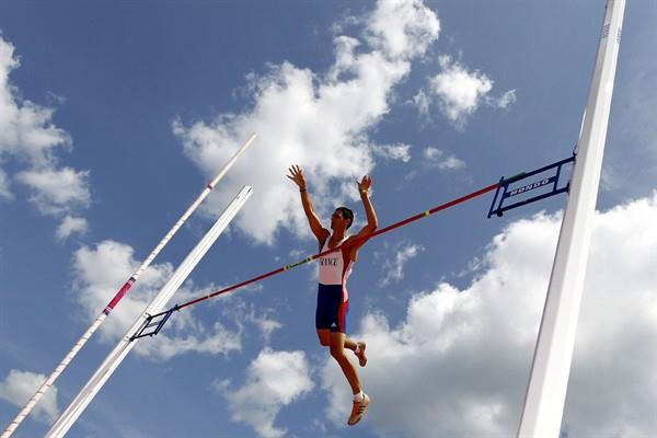 Jérémy Leliévre of France competing in the Decathlon Pole Vault (Getty Images)