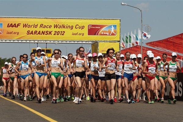 The Start of the women's 20km race in Saransk (Getty Images)
