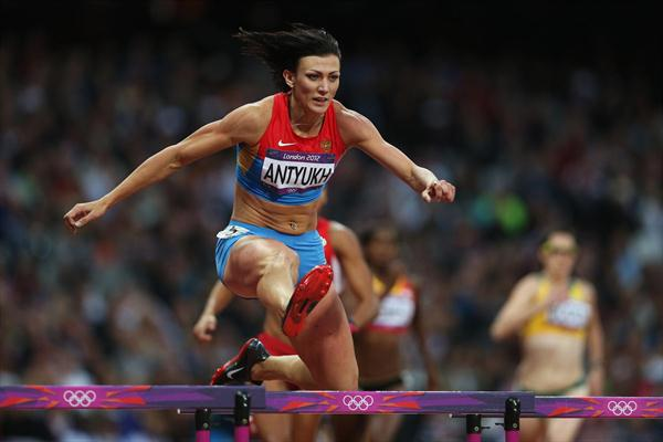 Natalya Antyukh of Russia jumps a hurdle in the Women's 400m Hurdles semi final on Day 10 of the London 2012 Olympic Games at the Olympic Stadium on August 6, 2012 (Getty Images)