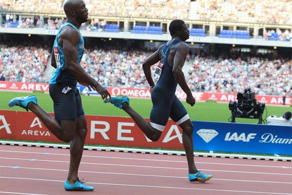 Kirani James beats LaShawn Merritt in the 400m at the 2013 Diamond League meeting in Paris (Jean-Pierre Durand)