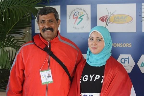 African junior hammer throw champion Rana Taha of Egypt with her father and coach Ibrahim Taha (Mark Ouma)