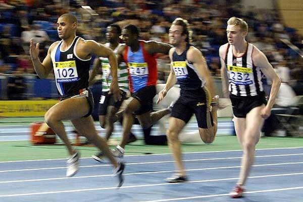 Jason Gardener leads the 60m field in Sheffield (Getty Images)