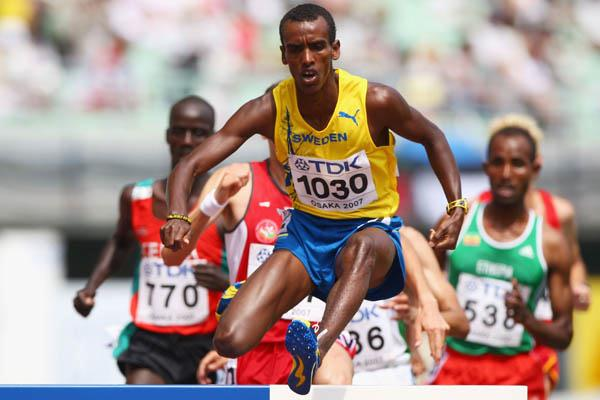 Mustafa Mohamed of Sweden in the men's 3000m Steeplechase in Osaka (Getty Images)