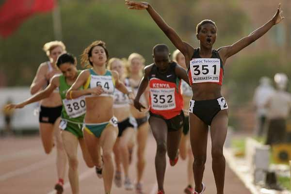 Flavious Teresa Kwamboka of Kenya wins the Girls' 800m at the World Youth Championships (Getty Images)
