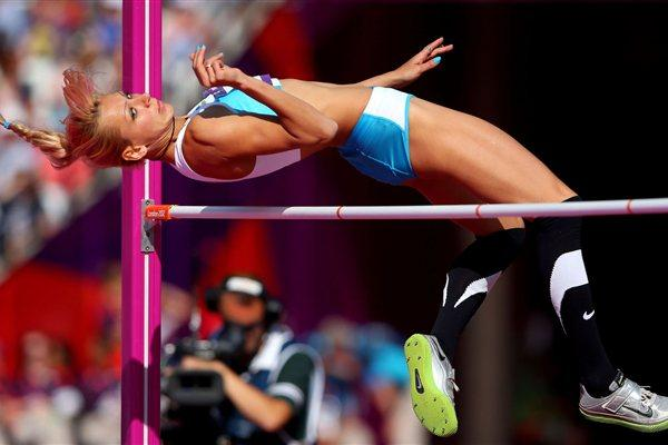 Nadiya Dusanova of Uzbekistan competes during the Women's High Jump qualification on Day 13 of the London 2012 Olympic Games  on August 9, 2012 (Getty Images)
