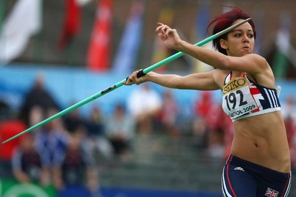 Katarina Thompson of Great Britain during the Javelin Throw of the Heptathlon (Getty Images)