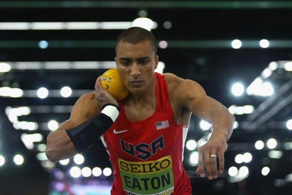Ashton Eaton in the heptathlon shot at the IAAF World Indoor Championships Portland 2016 (Getty Images)