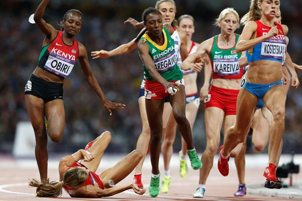 Morgan Uceny of the United States falls during the women's 1500m final at the London 2012 Olympics (Getty Images)
