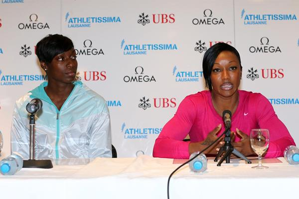 Kimberlyn Duncan and Carmelita Jeter at a press conference ahead of the 2013 Lausanne Diamond League (Gladys Chai)
