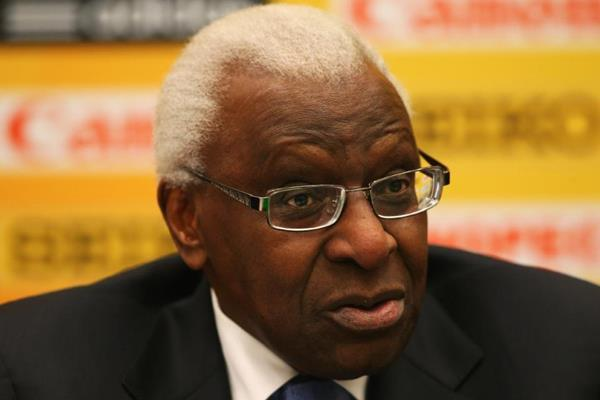 IAAF President Lamine Diack at the press conference ahead of the IAAF World Indoor Championships in Sopot (Getty Images)