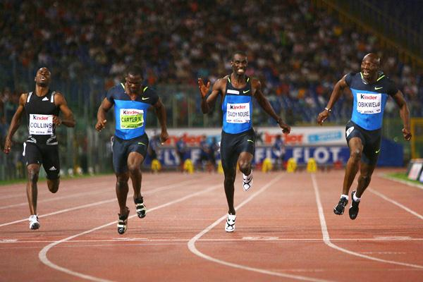 Francis Obikwelu wins the 100m by the narrowest of margins (Getty Images)