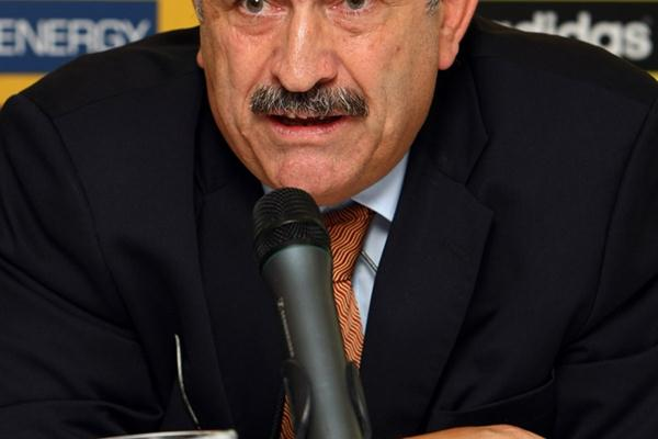 IAAF General Secretary Pierre Weiss at the pre-champs press conference in Birmingham (Getty Images)