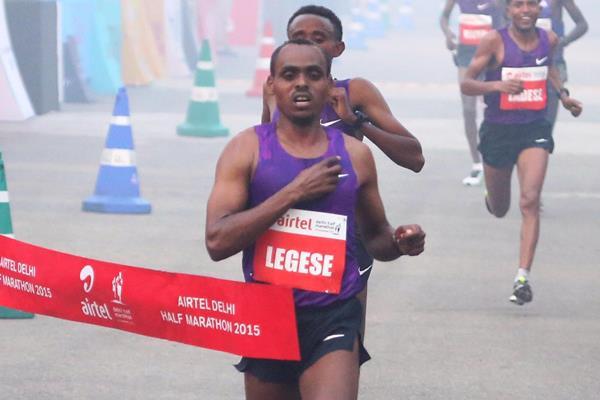 Birhanu Legese wins at the 2015 Airtel Delhi Half Marathon  (organisers)