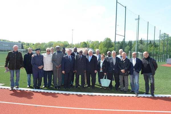 IAAF President Diack, former French team mates, and local officails at the opening of the new track in Champagnole (IAAF)