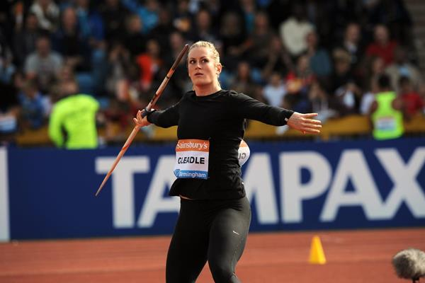 Liz Gleadle at the 2014 IAAF Diamond League meeting in Birmingham (Jean-Pierre Durand)