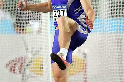 Margus Hunt of Estonia blasts out his 67.32m World Junior record in Beijing (Getty Images)