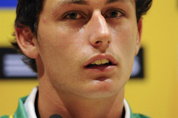 Jake Stein of Australia addresses the media during the IAAF Press Conference before the start of the 14th IAAF World Junior Championships  (Getty Images)