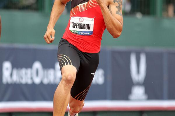 Wallace Spearmon en route to a decisive 200m triumph in Eugene (Getty Images)