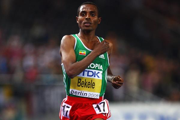 Kenenisa Bekele of Ethiopia crosses the line to win his fourth successive world title in the men's 10,000m at the 12th IAAF World Championships in Athletics (Getty Images)