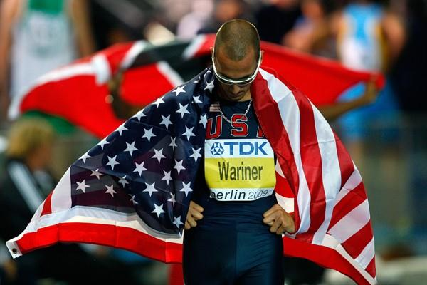 Former two-times World Champion Jeremy Wariner celebrates finishing second in the men's 400m at the 12th IAAF World Championships in Berlin (Getty Images)