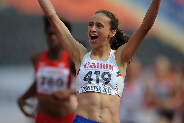 Anita Hinriksdottir winning the 800m at the 2013 IAAF World Youth Championships (Getty Images)