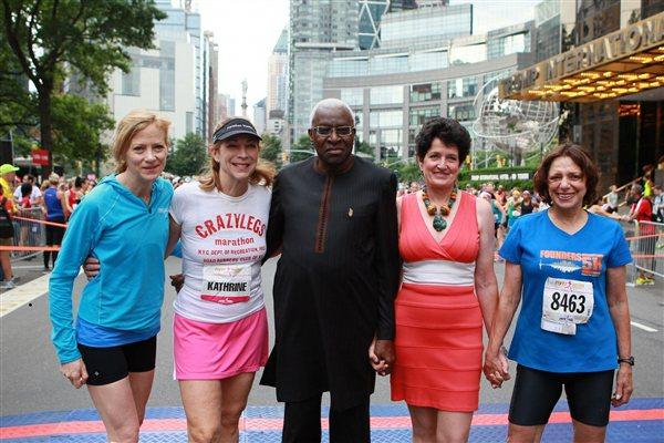 From left: NYRR president and CEO Mary Wittenberg, Mini 10K co-founder Kathrine Switzer, IAAF president Lamine Diack, first winner of the Mini 10K in 1972 Jacqueline Dixon, and Mini 10K co-founder Nina Kuscsik (Courtesy NYRR)