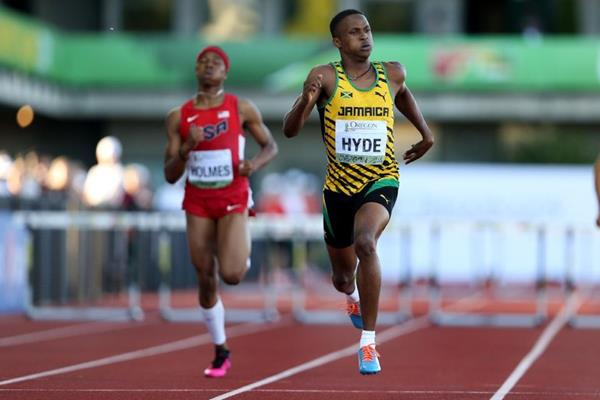 Jaheel Hyde on his way to 400m hurdles gold at the IAAF World Junior Championships Oregon 2014 (Getty Images)