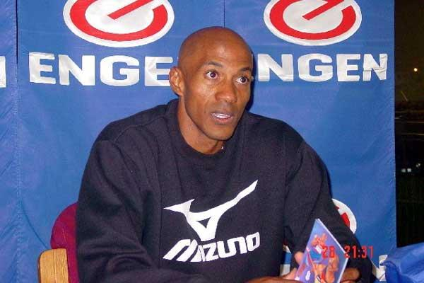 Frank Fredericks at the 2003 Engen Series Press Conference (Getty Images)