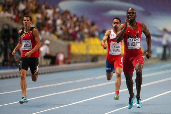 LaShawn Merritt in the mens 400m Final at the IAAF World Athletics Championships Moscow 2013 (Getty Images)