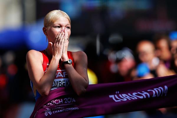 Elmira Alembikova wins the 20km race walk title at the European Championships (Getty Images)