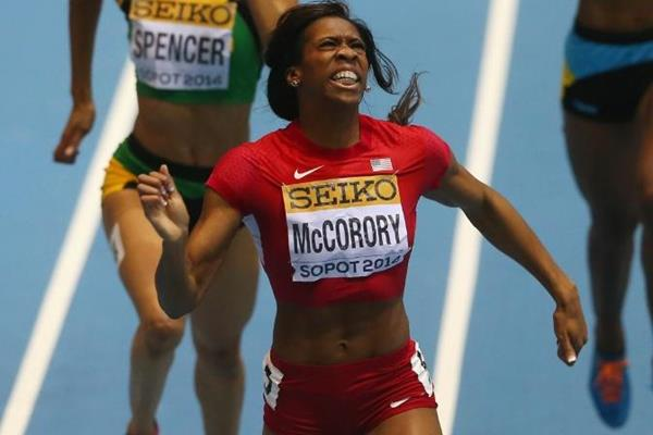 Francena McCorory in the 400m at the 2014 IAAF World Indoor Championships in Sopot (Getty Images)