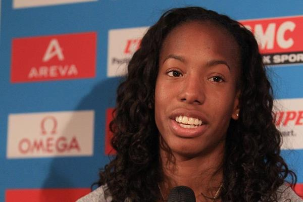 Brigetta Barrett at the press conference ahead of the IAAF Diamond League meeting in Paris (Jean-Pierre Durand)