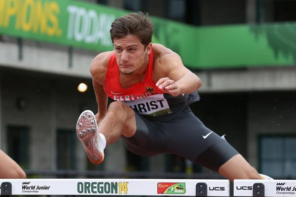 Fabian Christ in the decathlon 110m hurdles at the 2014 IAAF World Junior Championships in Eugene (Getty Images)