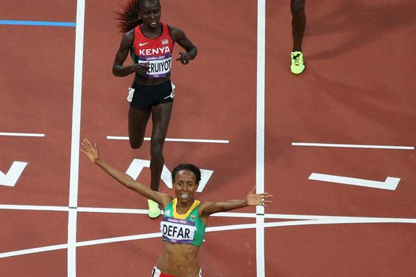 Meseret Defar of Ethiopia won the gold  medal in the Women's 5000m Final of the London 2012 Olympic Games on 10 August 2012 (Getty Images)