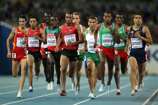 (L-R) Diego Ruiz of Spain, Abdalaati Iguider of Morocco, Silas Kiplagat of Kenya, Amine Laalou of Morocco, Taoufik Makhloufi of Algeria, Mekonnen Gebremedhin of Ethiopia, Zebene Alemayehu of Ethiopia and Matthew Centrowitz of United States compete in the men's 1500 metres semi finals  (Getty Images)