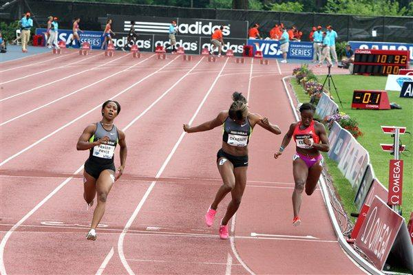 Shelly-Ann Fraser-Pryce takes a commanding 10.92 win in New York (Victah Sailer)