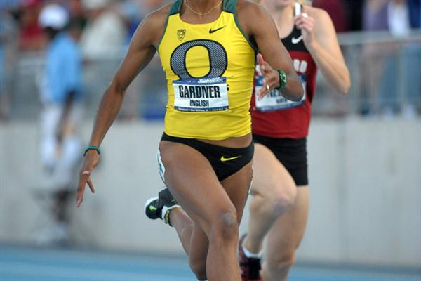English Gardner en route to the NCAA 100m title in Des Moines (Kirby Lee)
