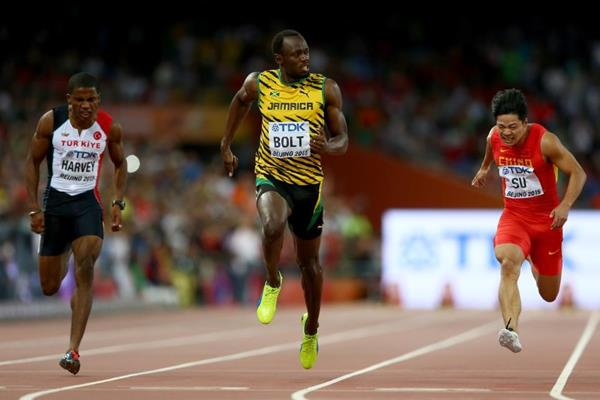 Usain Bolt wins his 100m semi-final at the IAAF World Championships, Beijing 2015 (Getty Images)